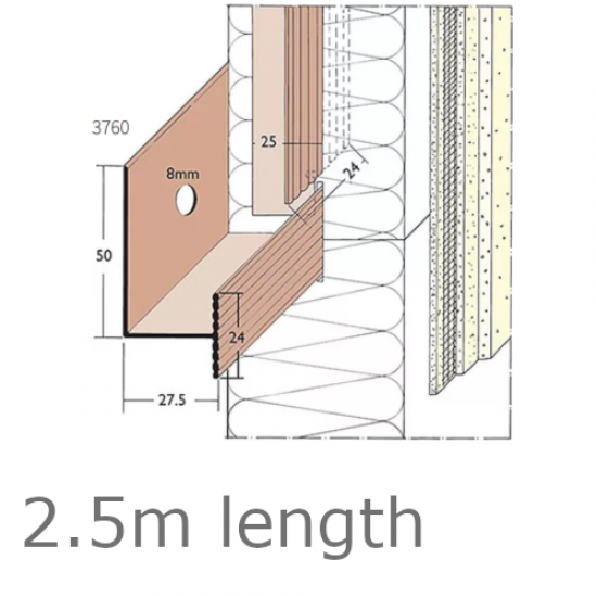 PVC Rail System Support Track -  length 2.5m (pack of 25).