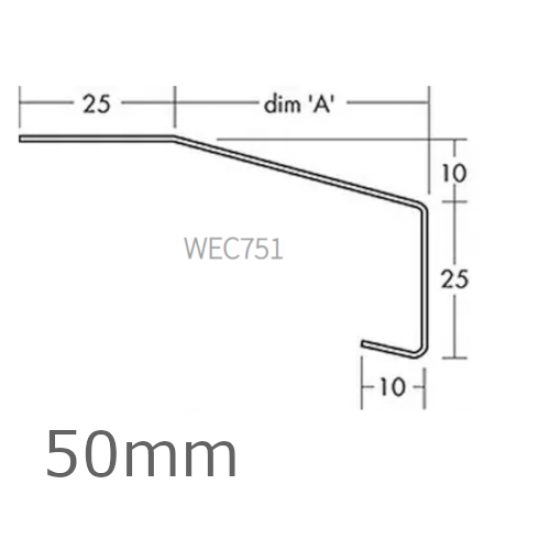 50mm Aluminium Window Sill Extension WEC 751 (with Full End Caps - pair) - 2.5m Length